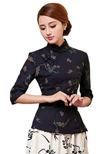 Yue Lian Damen Frauen Herbst Halfärmlig Qipao Stil Bluse mit druckte Muster (EU:40-China:XXL, Farbe 8)