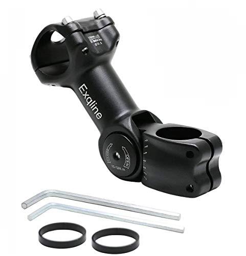 Exqline Fahrrad Lenker Vorbau 31,8mm, Verstellbarer Fahrrad Vorbauten 0~60 Grad Einstellbar, Verlängerung MTB Gabelschaft Extender, mit 2 * 5mm Fahrrad Ahead Vorbau Spacer & 2 Inbusschlüsseln