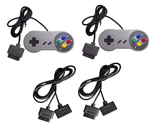 DARLINGTON & Sohns Set 2 Stück Controller + Verlängerungskabel für Nintendo SNES Super Nintendo Kabel Set Controller Verlängerung Gamepad Extansion