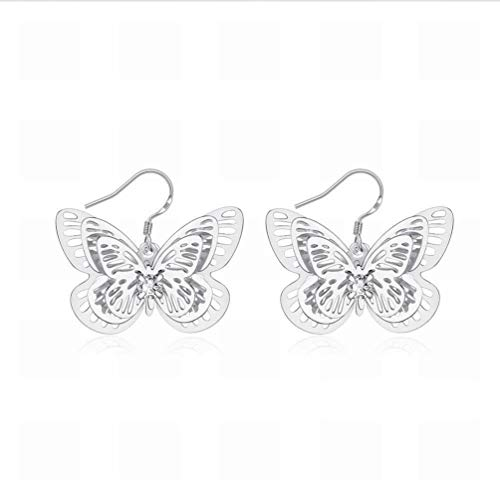 Creative Three-layer Butterfly Earrings Hollow Slices Female Models Earrings/Stainless Steel/Anti-allergy/Silver Flashing/Small and Exquisite/Hook Earrings,Colour:Figure Bracelets Earrings R