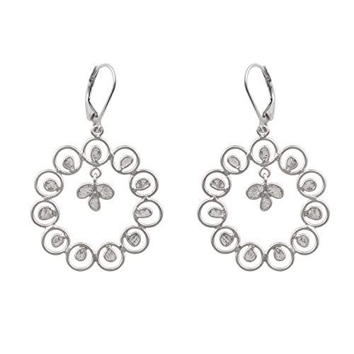 2.00 CTW Pendientes de aniversario de flores versátiles con diamantes naturales Polki sin cortar - Plata de ley 925 chapada en platino