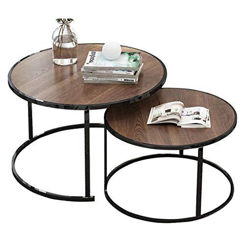 Set di 2, tavolini Estraibili Tavolino da Salotto/tavolino da Salotto, per tavolino da Divano, Struttura in Metallo Nero, Piano in Noce