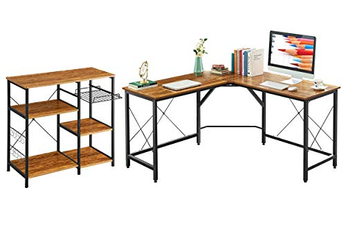 Mr IRONSTONE 59' L Shaped Desk and 3-Tier+3-Tier Kitchen Baker's Rack (Vintage)