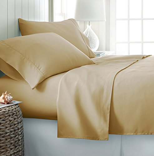 Comfy Deal 4 Pieces Bamboo-Eco Friendly- Anti Micorbial. Oversize and Deep Pocket Wrinkle Free Sheet Set (Gold, King)
