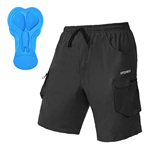 Men's 3D Padded Mountain Bike Shorts - Cycling Shorts Lightweight Loose-fit Bicycle MTB Shorts with Pockets(Black XXL)