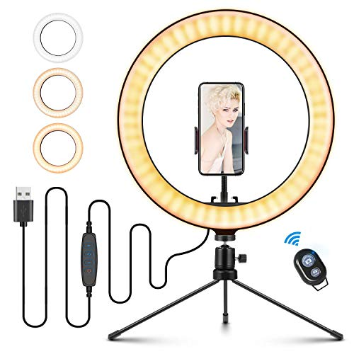ELEGIANT Aro de Luz LED 10.2' Trípode, Anillo de Luz Fotografia con Control Remoto Inalámbrico 3 Colores, 11 Brillos Altura Regulable para Móvil Selfie Maquillaje Youtube TIK Tok Live Escritorio