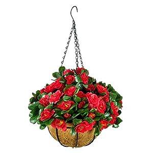 Silk Flower Arrangements Bo Lala Simulation Flower Azalea Fake Chain Flower Pot Hanging Basket Flowers Artificial for Decoration (9.85 inch)