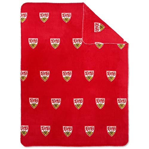 VfB Stuttgart Kuscheldecke/Fleecedecke ROT beidseitig mit Wappen ca. 150x200cm