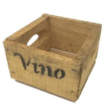Holzkiste Vino Wein Design Motiv Vintage-Used Design 10x14x15cm weiss