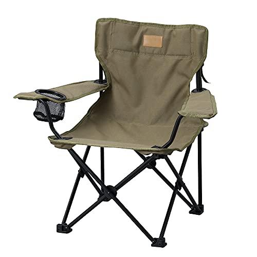 アイリスオーヤマ キャンプ用品 チェア アウトドアチェア コンパクト収納 子供用 キャリーバック付き 簡単組み立て ドリンクホルダー スマホホルダー付き ゆったり座れる カーキ CCM-HIGH