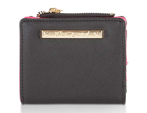 PVC Saffiano Leather exterior, Signature Gold-Plated Plaque Hardware Contrast color Fuchsia interior, Snap main closure, Betsey Heart zipper pull Back Id Window slot and zippered coin pocket Interior has 6 Credit card slots and 1 bill currency compar...