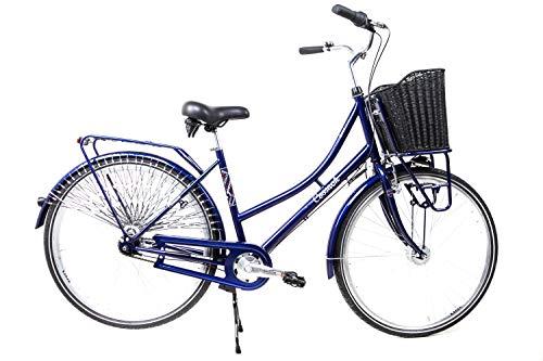 28 Zoll Damen Fahrrad City Nostalgie Bike Retro Shimano 7 Gang Rücktritt Nabendynamo Korb blau