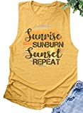 AIMITAG Sunrise Sunburn Sunset Repeat T Shirt Country Music Tank Tops Women Letter Graphic Shirts Summer Vacation Tops (Large, Yellow)