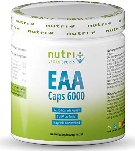 EAA Kapseln - MHD 28.6.21-360 Mega Caps à 750mg - vegan & hochdosiert - 8 essenzielle Aminosäuren - EAAs 6000 (Essential Aminokapseln) - Proteinkapseln - Aminosäurekomplex