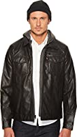 Levi's Faux Leather Trucker with Jersey Hood and Fleece Lining Black XL