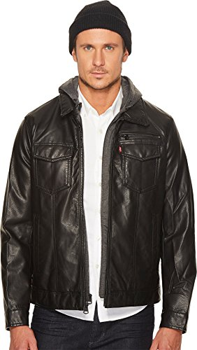 Levi's Faux Leather Trucker with Jersey Hood and Fleece Lining Black LG