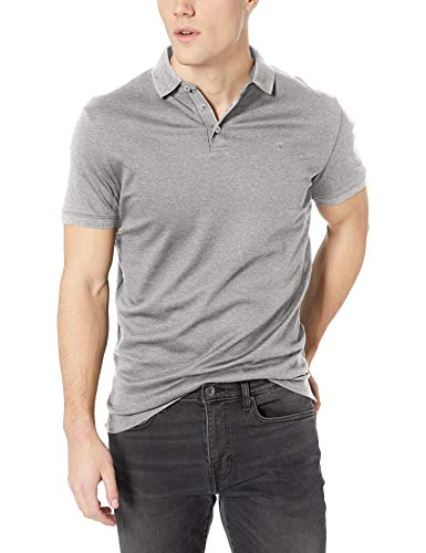 Calvin Klein Men's Liquid Touch Polo Solid with UV-Protection, Medium Grey Heather