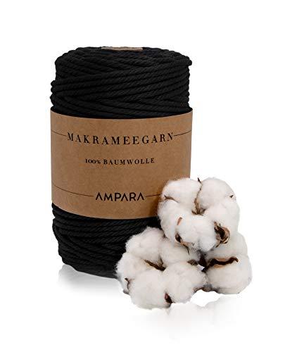Ampara - Weiches Makramee Garn Schwarz 3mm x 220m, 100% Baumwollgarn (Garn Makramee Schwarz für hochwertige Handarbeitskunst)