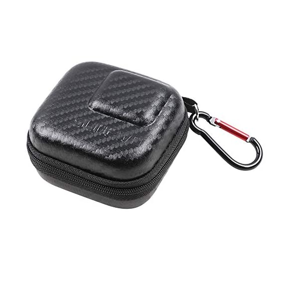 Hard Carrying Case for GoPro Hero 9/8,SUREWO Mini Hard Shell Carrying Case Travel Portable Storage Bag for GoPro Hero 9… 1 ★ MINI SIZE - Mini storage just for Gopro camera plus frame housing,keeps your GoPro safe and protected.Compact and easy to store in backpacks or carry-on luggage.Recommend for traveling and home storage,it is very easy to carry. ★ HIGH QUALITY and FASHIONAL - High quality PU surface,provide Water resistance and dampproof.Stylish exterior design of black twill patterns. ★ DOUBLE ZIPPER - The advantage of the double zipper is that this mini bag can also be used when you want to install a similar mount such as a selfie stick.Just install the mini bag after installing the selfie stick.It's up to you to decide how to use it.This mini case both as a storage box and as a protective case.