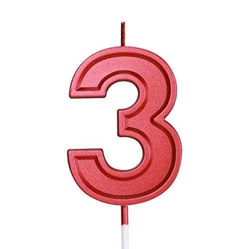 Birthday Candle Numbers Red Glitter Happy Birthday Numeral for Weddings, Reunions, Theme Party Perfect Baby's Pet's Birthday Cake Candle (Red, 3)