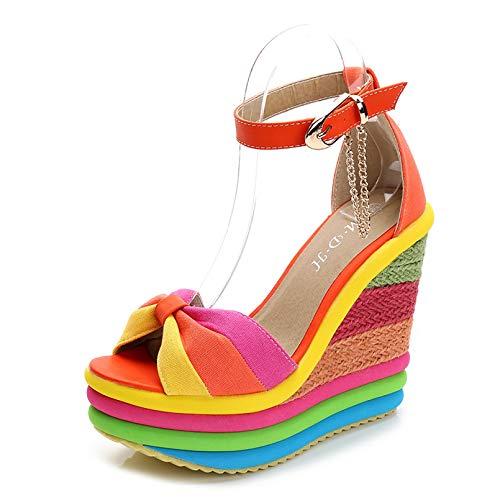 Verano Sandalias Romanas Mujer, Zapato Peep-Toe con Plataforma Cuña Alpargatas Zapatillas De Boda Fiesta Sandalias,Baile, Vestido, Fiesta, Discoteca, Boda,Naranja,40