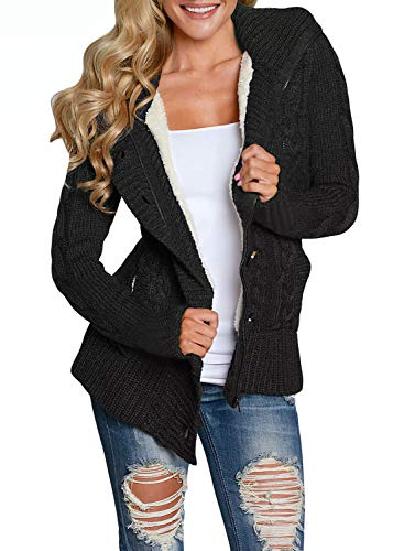 Asvivid Womans Fashion 2019 Lightweight Button Up Knitted Cardigans Cozy Zip Up Ladies Thick Hooded Sweater Jacket L Black