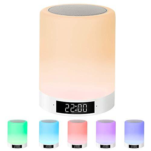 LED Night Lights Bluetooth Speaker, met wekker, Touch Sensor dimbaar, warm wit, warm wit en 7 kleuren, 3 heldere, beste cadeaus, voor kinderen, feestjes