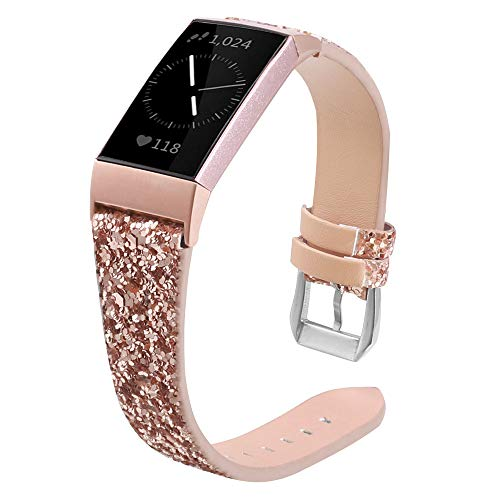 XIALEY Correa De Brillo Compatible con Fitbit Charge 4/ Charge 3, Mujeres Niñas Bling Leather Hebilla De Metal Inoxidable Pulsera De Repuesto Brazalete Banda para Charge 3 / Charge 4,Rose Gold
