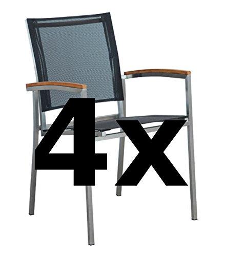 ASS 4Stk Designer Gartenstuhl mit Armlehne Kuba-SCHWARZ Gastroqualität Stapelsessel Gartensessel Stapelstuhl Sessel Edelstahl Batyline Textilene Teak stapelbar sehr robust