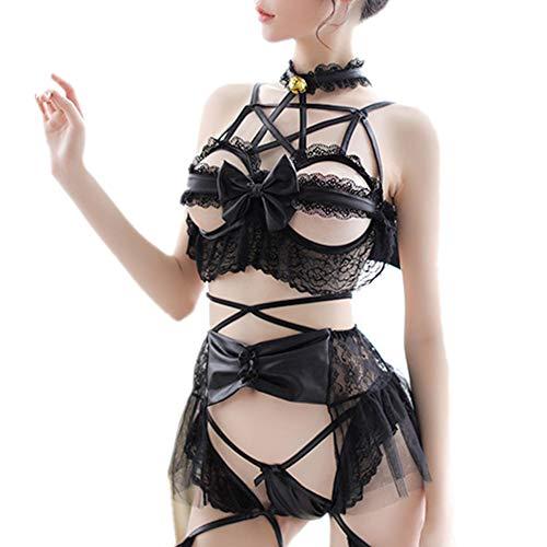 TOMORI Womens Devil Cosplay Costumes Sexy Lace Bandage Lingerie Set Lolita Anime Bikini with Wings
