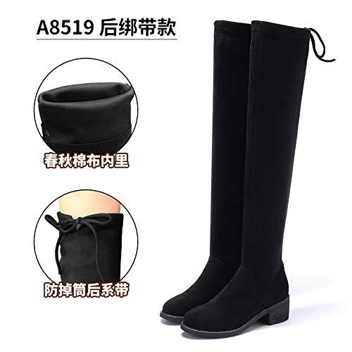 Shukun laarzen, dames, knie lente en herfst, lange laarzen, smal, winter, stretch, zwart, dames dik met