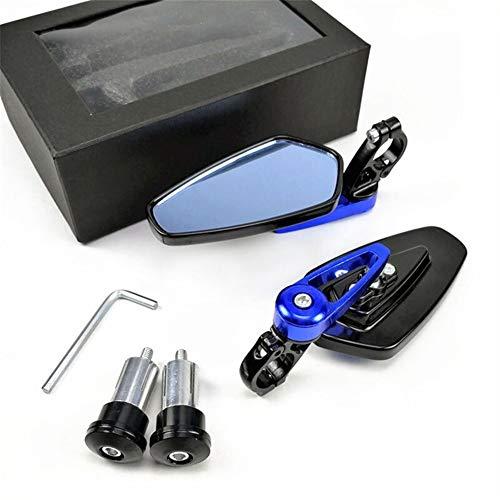 XIAOYUW 2pcs / Pack 7/8' 22mm Bar Ver Accesorios Extremo Trasero Espejos Moto De La Motocicleta Scooter Espejo Retrovisor Lateral Espejos Moto por Un Corredor del Café (Color : Blue)