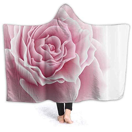 Timdle Sherpa tragbare Decke Poncho für Erwachsene Frauen M?nner Rose Malerei warm, weich, gemütlich, kuschelig, Komfort Geschenk, Keine ?rmel 60W von 50H Zoll (mit Kapuze)