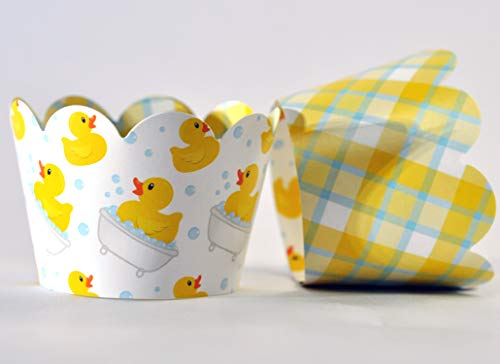 Rubber Duck Cupcake Wrappers for Gender Reveals, Baby Showers party supplies, Boy or Girl Birthday parties, gender neutral. Set of 24 Reversible Ducky pattern to plaid Scalloped Cup Cake Holder Wraps