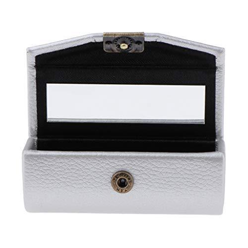 kowaku Caja de Almacenamiento de Lápiz Labial de Cuero Caja de Almacenamiento Espejo Monedero Bolsillo - Plata