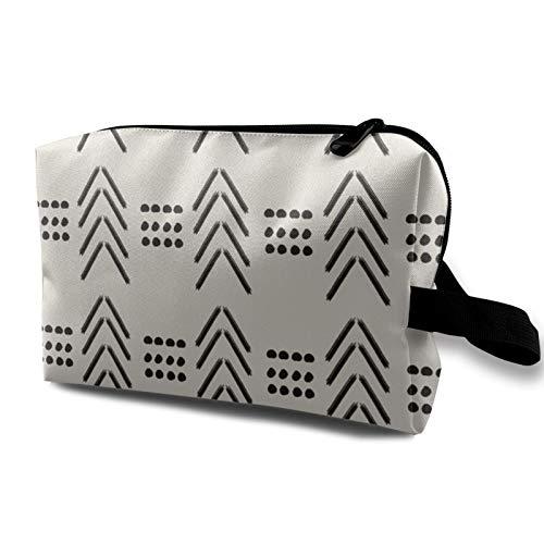Bolsa de viaje para cosméticos, color negro y neutro, color blanco y negro, crema, impermeable, organizador de maquillaje, bolsa de almacenamiento con cremallera, 12,4 x 6,5 x 10 pulgadas.
