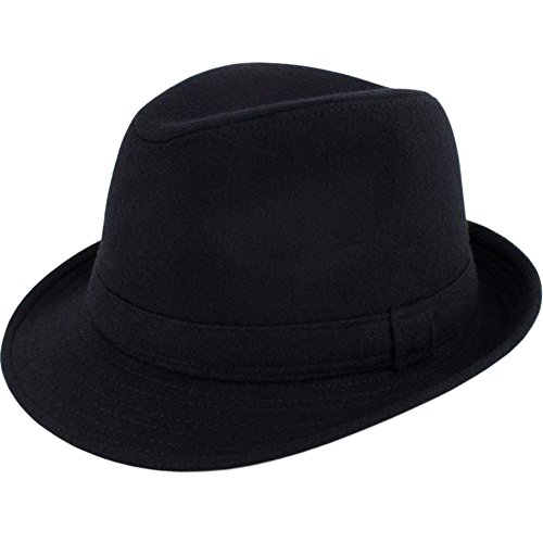 ALL IN ONE CART Mens Classic Manhattan Structured Gangster Trilby Fedora Hat Short Brim Panama Hat,Black,One Size