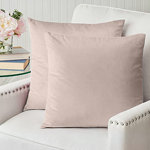 The Connecticut Home Company Velvet Throw Pillow Covers, 18x18 Set of 2, Soft Decorative Square Pillowcases, Luxury Home Décor Accent Cushion Cases for Livingroom Couch, Bedroom, Sofa Bed, Blush