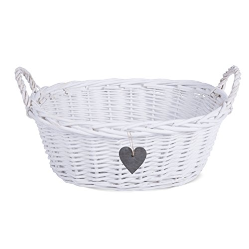BASIC HOUSE Eared White Matte Wicker Display Gift Bread Decoration Basket-Grey Wooden Heart