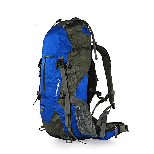 LILINA Hiking Backpack Expandable 55L to 60L Trekking Daypack Ultralight Water Resistance Camping Mountaineering Cycling Travel Outdoor Backpack for Men and Women,Blue