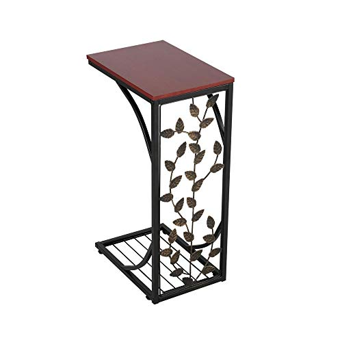 Costoffs Sofa Snack Side Table C-shaped Metal End Coffee Table with Leaf Pattern for Bedroom/Living Room