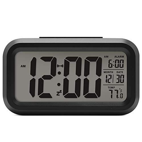 Lanker Despertador De Viaje - Reloj Digital con Pantalla LCD Grande, Luz De Fondo Azul, Calendario, Repetición Y Pantalla De Temperatura - AC06 Blanco