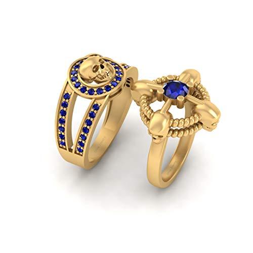 Memento Mori - Juego de anillos de boda con diseño de calavera de oro amarillo sólido de 18 quilates, zafiro azul a juego