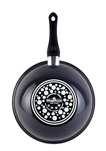 Magefesa Dolomiti - Wok 28cm de acero vitrificado exterior gris marengo. Antiadherente bicapa Reforzado efecto mármol. Apto para todo tipo de cocinas, especial inducción. 50% de ahorro energético.