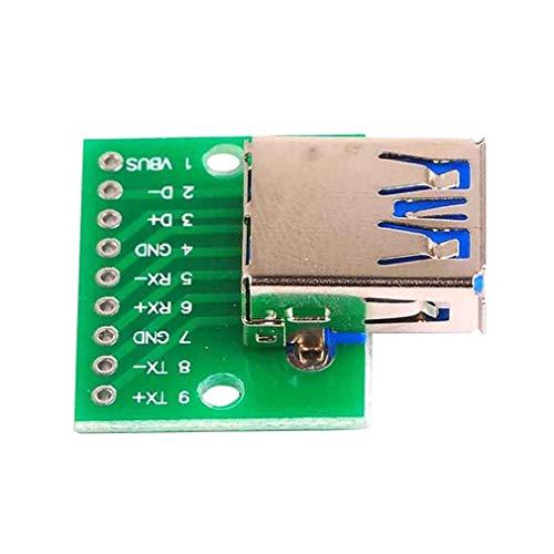 DIY Reemplace los accesorios 3 unids USB 3.0 hembra para sumergir módulo plano a placa de enchufe recta adaptador tablero de conversión hembra DIP 2,54mm PIN