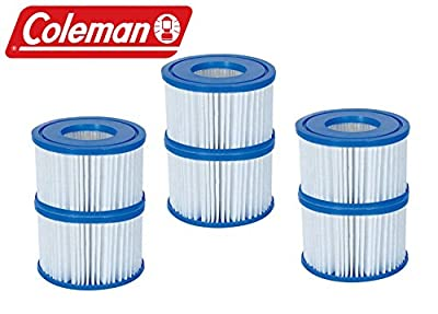 Bestway 6 Pack Coleman Type VI Spa Filter Cartridge for Lay-Z-Spa 90352