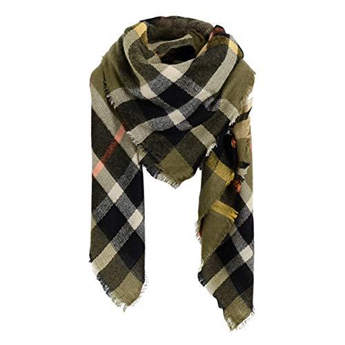 SUNDAY ROSE Women Plaid Blanket Scarf Oversized Tartan Scarves Long Shawl Wraps-Olive
