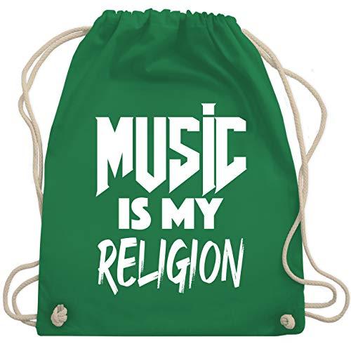 Shirtracer Festival Turnbeutel - Music is my religion weiß - Unisize - Grün - Geschenk - WM110 - Turnbeutel und Stoffbeutel aus Baumwolle
