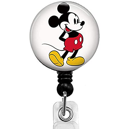 Various Mickey Mouse Disney Inspired Character Retractable ID badge reel clip with rubber O ring
