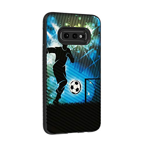 TurtleArmor | Compatible with Samsung Galaxy S10e Case | S10 Lite Case | G970 | Hard Shell Engraved Grooves Hybrid Fitted TPU Case Sports and Games - Soccer Player Graphic